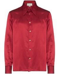 Camisa de manga larga de seda roja