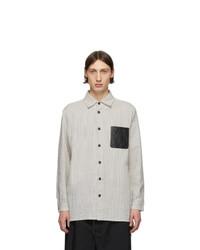 Camisa de manga larga de seersucker de rayas verticales blanca de Loewe