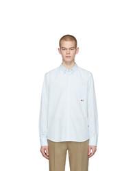 Camisa de manga larga de seersucker de rayas verticales celeste de Moncler