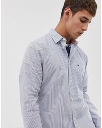 Camisa de manga larga de seersucker de rayas verticales celeste de Tommy Jeans