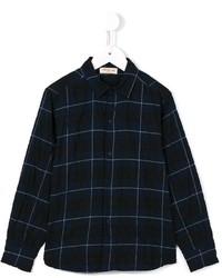 Camisa de manga larga de tartán azul marino