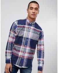 Camisa de manga larga de tartán azul marino de Abercrombie & Fitch