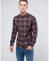 Camisa de manga larga de tartán azul marino de ASOS DESIGN