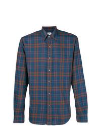 Camisa de manga larga de tartán azul marino de Aspesi