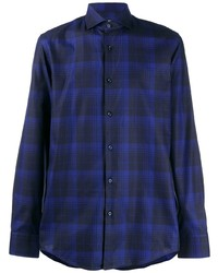 Camisa de manga larga de tartán azul marino de BOSS HUGO BOSS