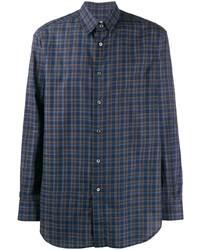 Camisa de manga larga de tartán azul marino de Brioni