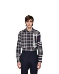 Camisa de manga larga de tartán azul marino de Burberry