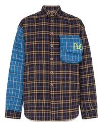 Camisa de manga larga de tartán azul marino de Duo