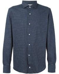 Camisa de manga larga de tartán azul marino de Eleventy