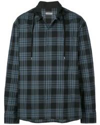 Camisa de manga larga de tartán azul marino de Lanvin