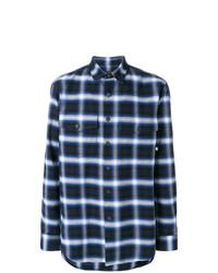 Camisa de manga larga de tartán azul marino de Marcelo Burlon County of Milan