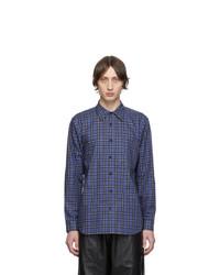Camisa de manga larga de tartán azul marino de Tibi