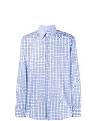 Camisa de manga larga de tartán celeste de Gucci
