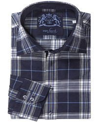 Camisa de manga larga de tartán en azul marino y blanco