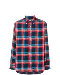Camisa de manga larga de tartán en azul marino y rojo