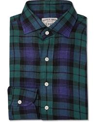 Camisa de manga larga de tartán en azul marino y verde de Drakes