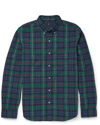 Camisa de manga larga de tartán en azul marino y verde de J.Crew