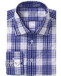 Camisa de manga larga de tartán en blanco y azul marino