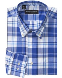 Camisa de manga larga de tartán en blanco y azul
