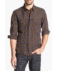 Camisa de manga larga de tartán en blanco y marrón