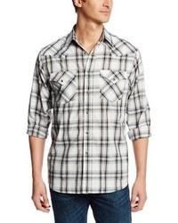 Camisa de manga larga de tartán en blanco y negro