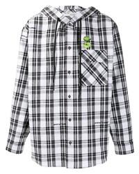 Camisa de manga larga de tartán en blanco y negro de Off-White