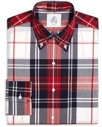 Camisa de manga larga de tartán en blanco y rojo y azul marino