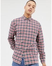 Camisa de manga larga de tartán en blanco y rojo y azul marino de ASOS DESIGN