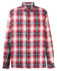 Camisa de manga larga de tartán en blanco y rojo y azul marino de BornxRaised