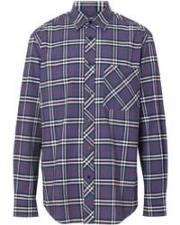 Camisa de manga larga de tartán en blanco y rojo y azul marino de Burberry