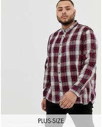 Camisa de manga larga de tartán en blanco y rojo y azul marino de Burton Menswear