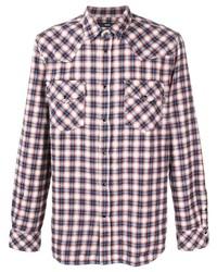 Camisa de manga larga de tartán en blanco y rojo y azul marino de Diesel