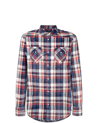 Camisa de manga larga de tartán en blanco y rojo y azul marino de DSQUARED2