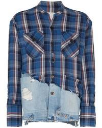 Camisa de manga larga de tartán en blanco y rojo y azul marino de Greg Lauren