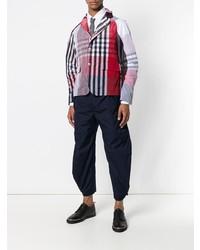 Camisa de manga larga de tartán en blanco y rojo y azul marino de Thom Browne