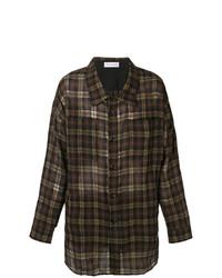 Camisa de manga larga de tartán en marrón oscuro de Faith Connexion