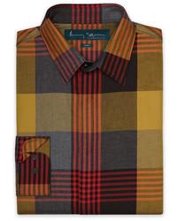 Camisa de Manga Larga de Tartán en Multicolor de Perry Ellis