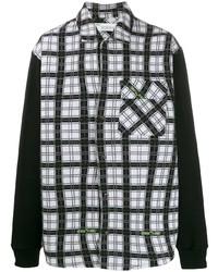 Camisa de manga larga de tartán en negro y blanco de Off-White