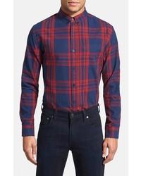 Camisa de manga larga de tartán en rojo y azul marino