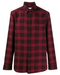Camisa de manga larga de tartán en rojo y negro de Calvin Klein
