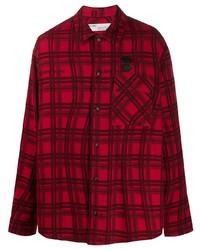 Camisa de manga larga de tartán en rojo y negro de Off-White
