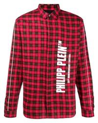Camisa de manga larga de tartán en rojo y negro de Philipp Plein