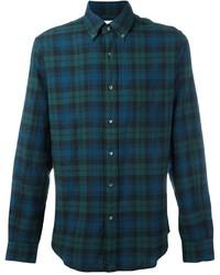 Camisa de manga larga de tartán en verde azulado