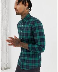 Camisa de manga larga de tartán en verde azulado de ASOS DESIGN