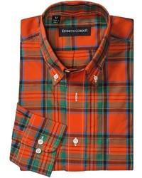 Camisa de manga larga de tartán en verde y rojo