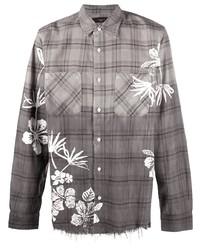 Camisa de manga larga de tartán gris de Amiri