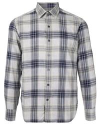 Camisa de manga larga de tartán gris de D'urban