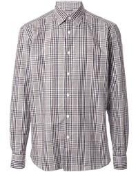 Camisa de manga larga de tartán gris de Ermenegildo Zegna