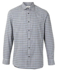 Camisa de manga larga de tartán gris de Kent & Curwen