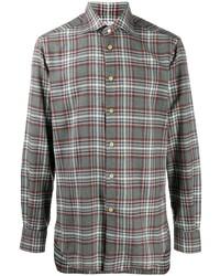 Camisa de manga larga de tartán gris de Kiton
